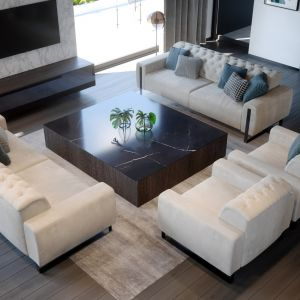 Piękny, nowoczesny salon. Nazwa projektu: HomeKONCEPT 62. Projekt wykonano w Pracowni HomeKONCEPT