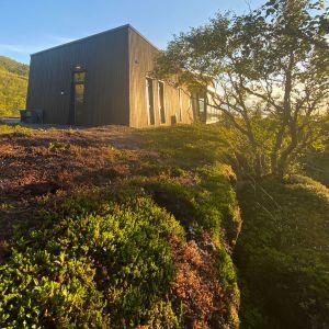 Dom w Norwegii ma drewnianą fasadę pomalowaną na szary kolor. Projekt: Bjørnådal Arkitektstudio. Fot. Hans-Petter Bjørnådal
