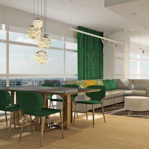 Zawieszone nad jadalnianym stołem lampy umilą rodzinny posiłek lub stworzą przestrzeń do romantycznej kolacji we dwoje. Projekt wnętrza Alina Badora