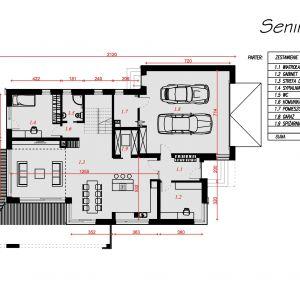 Rzut parteru. Nazwa projektu: Senimona 3. Projekt wykonano w Pracowni Domy w zieleni