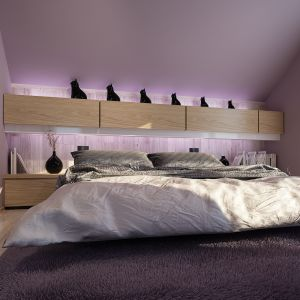 Wygodna sypialnia. Nazwa projektu: Senimona 3. Projekt wykonano w Pracowni Domy w zieleni
