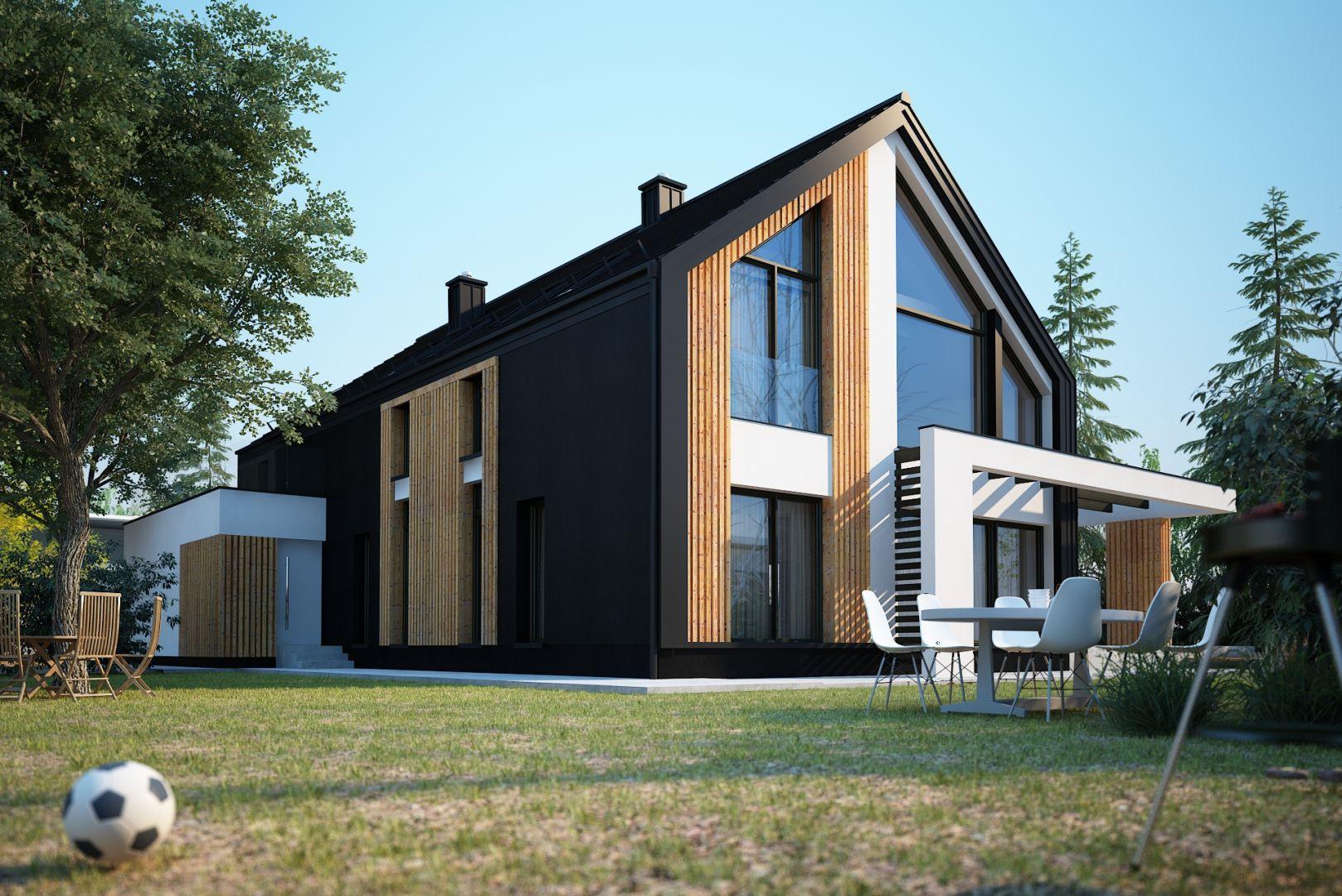Duże przeszklenia nadaję bryle domu lekkości. Nazwa projektu: Senimona 3. Projekt wykonano w Pracowni Domy w zieleni