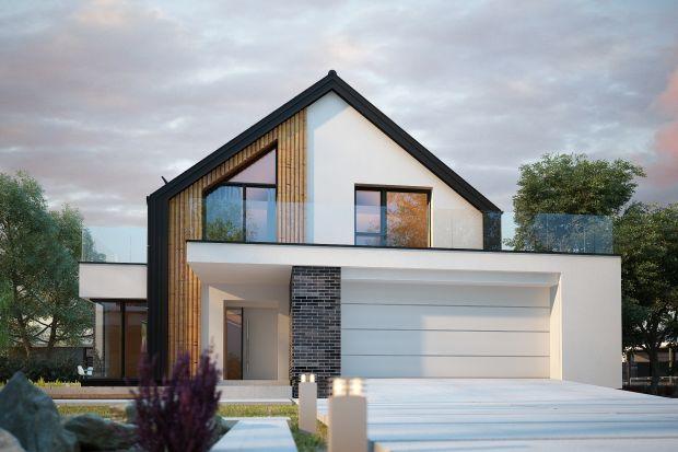 Projekt nowoczesnego domu z poddaszem użytkowym i garażem na dwa samochody. Ma bardzo ładną bryłę i wygodny rozkład pomieszczeń. Będzie idealny nawet dla dużej rodziny.
