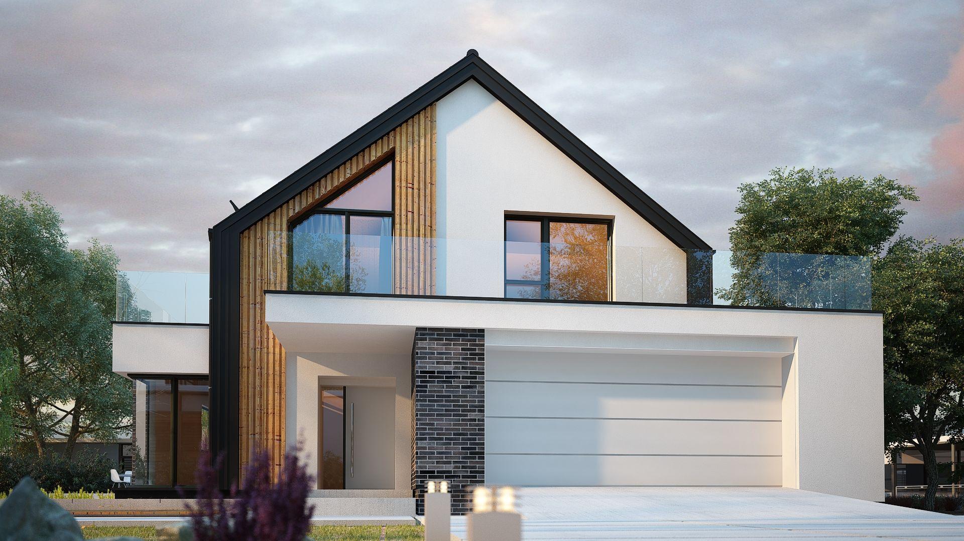 Z przodu budynku zaplanowano garaż na dwa samochody. Nazwa projektu: Senimona 3. Projekt wykonano w Pracowni Domy w zieleni