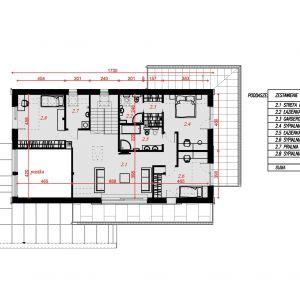 Rzut poddasza. Nazwa projektu: Senimona 3. Projekt wykonano w Pracowni Domy w zieleni