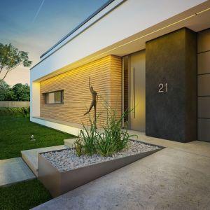 Wejście do domu. Nazwa projektu: Dom modny III. Projekt wykonano w Pracowni Doomo