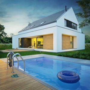 Widok na dom od strony ogrodu. Nazwa projektu: Dom modny III. Projekt wykonano w Pracowni Doomo