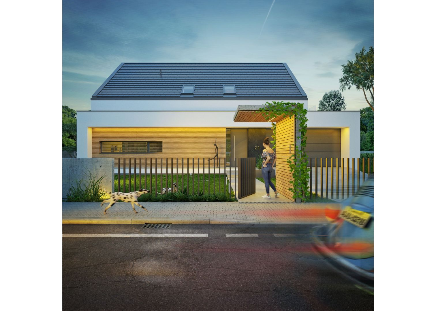 Płaska część domu mimo, że stanowi niewielki fragment dachu, jest ważnym elementem całej bryły. Nadała jej dynamiczny, horyzontalny charakter. Nazwa projektu: Dom modny III. Projekt wykonano w Pracowni Doomo