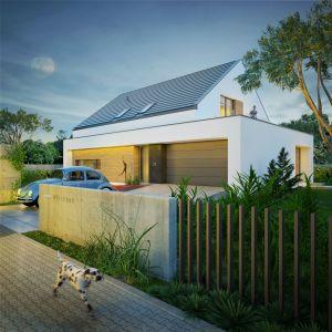 Dom na prostą, fajną bryłę. Nazwa projektu: Dom modny III. Projekt wykonano w Pracowni Doomo