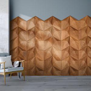 Dedykowane do wnętrz domowych, idealnie sprawdzą się na każdym podłożu ściany, sufi-tu, a w przypadku paneli FLAT także na podłodze, dając efekt geometrycznej podłogi w drewnie. Cena od 700 zł netto za mkw.  Fot. Dekorian Home Galaxy Nobifloor