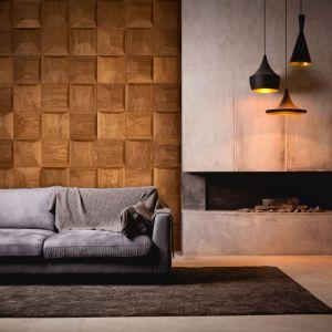 Atrakcyjna cena produktu (już od 700 zł netto za m.kw.) sprawia, że w każdym wnętrzu może zagościć elegancka i niebanalna ściana z drewnianych modułów 3D. Fot. Dekorian Home Nebula Nobifloor