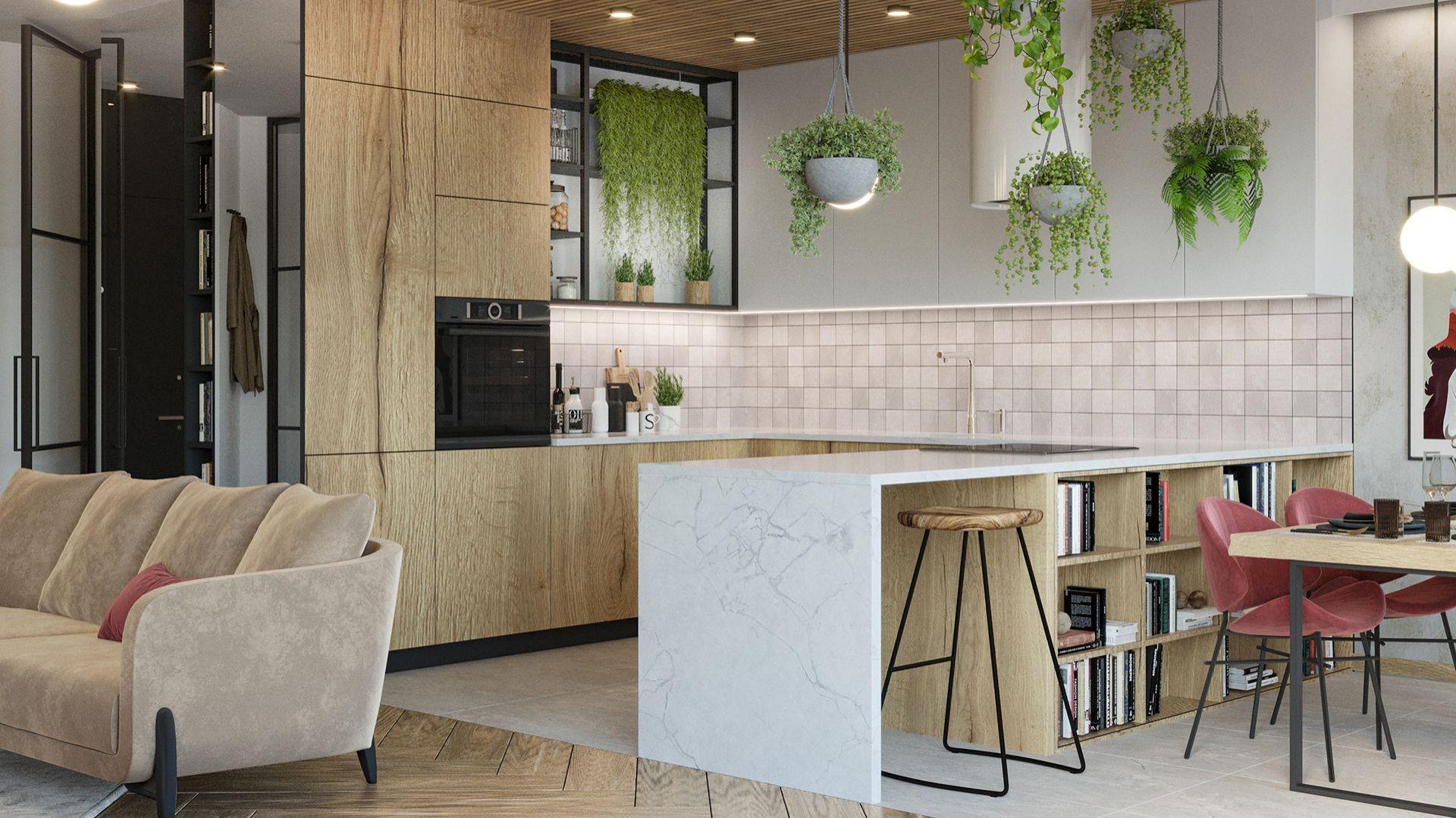Mieszkanie zaprojektowane dla młodej kobiety, która ceni elegancję, naturę i kolory we wnętrzu. Projekt i wizualizacje: Agnieszka Rozmysłowicz, Viann Interior Design