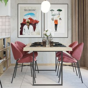 W jadalni znalazł się nieco loftowy stół z metalowymi nogami i drewnianym blatem oraz bardzo kobiece, tapicerowane krzesła w malinowym kolorze. Projekt i wizualizacje: Agnieszka Rozmysłowicz, Viann Interior Design