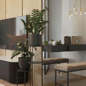 Projektantka zastosowała też sporo lustrzanych powierzchni, co optycznie powiększyło przestrzeń. Projekt i wizualizacje: Agnieszka Rozmysłowicz, Viann Interior Design