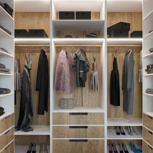 W mieszkaniu znalazła się też pojemna garderoba. Projekt i wizualizacje: Agnieszka Rozmysłowicz, Viann Interior Design