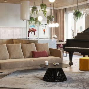 W salonie musiało znaleźć się miejsce na fortepian inwestorki. Projekt i wizualizacje: Agnieszka Rozmysłowicz, Viann Interior Design