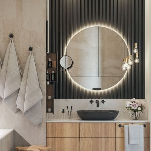 Łazienka kontynuuje stylistykę całego wnętrza - dużo tu kolorów ziemi oraz matowej czerni. Projekt i wizualizacje: Agnieszka Rozmysłowicz, Viann Interior Design