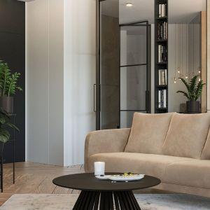 W salonie kolory ziemi łączą się z elegancką matową czernią. Projekt i wizualizacje: Agnieszka Rozmysłowicz, Viann Interior Design