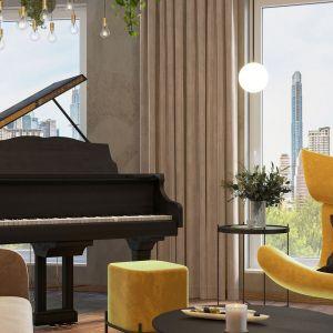 Aby pomieścić fortepian, projektantka powiększyła powierzchnię salonu rezygnując z jednego pokoju. Projekt i wizualizacje: Agnieszka Rozmysłowicz, Viann Interior Design