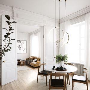 Mieszkanie jest przestronne i pełne światła. Projekt i wizualizacje: Katarzyna Kacik, Aleksandra Poprawa, pracownia projektowa houm