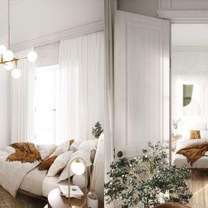 Wysokie sufity i bogata sztukateria kontrastują z surowymi ceglanymi ścianami. Projekt i wizualizacje: Katarzyna Kacik, Aleksandra Poprawa, pracownia projektowa houm