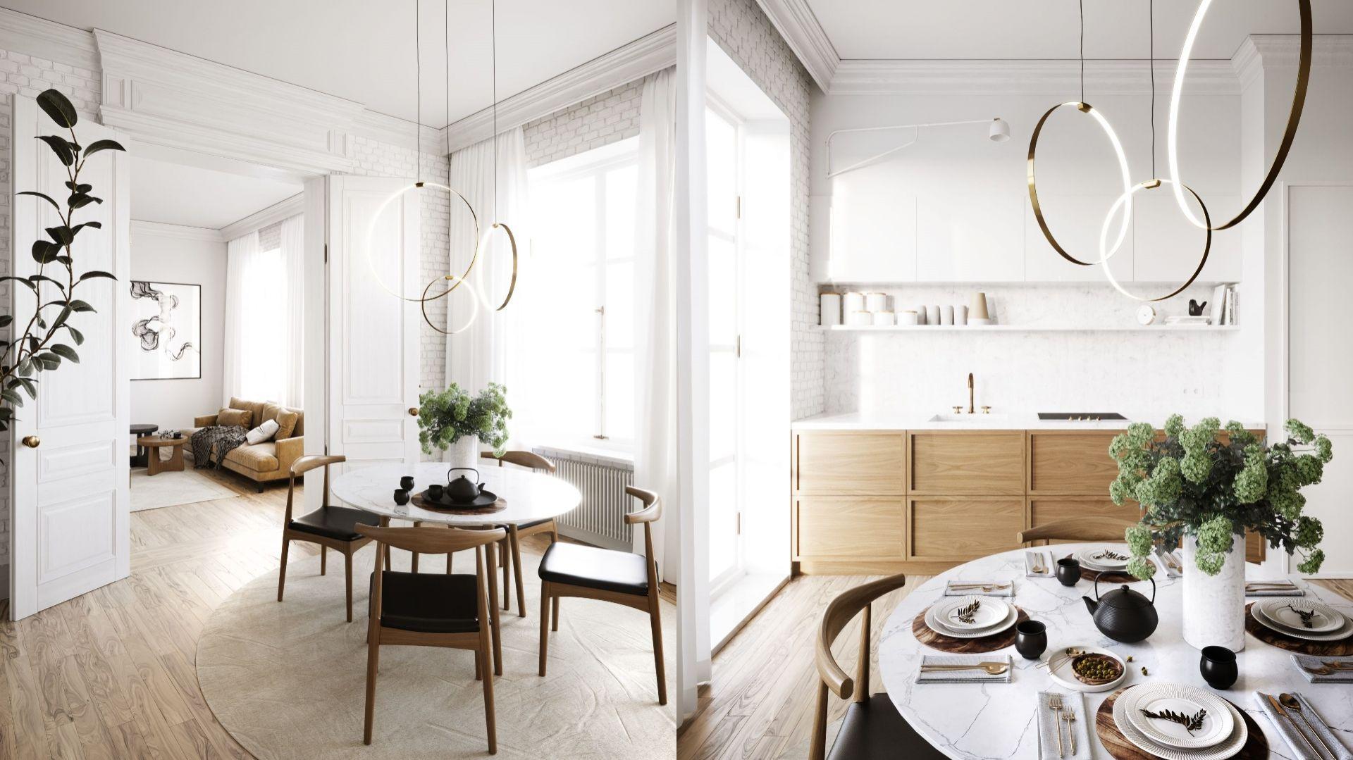 80-metrowe mieszkanie w kamienicy to stylowa otwarta przestrzeń zaprojektowana dla małżeństwa. Projekt i wizualizacje: Katarzyna Kacik, Aleksandra Poprawa, pracownia projektowa houm