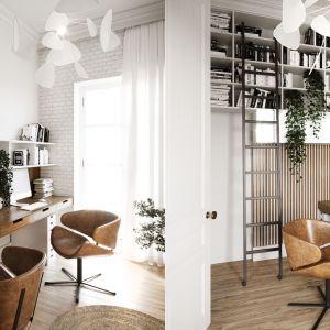 W mieszkaniu przewidziano także wygodne miejsce do pracy - jedno z mieszkańców pracuje w trybie home office. Projekt i wizualizacje: Katarzyna Kacik, Aleksandra Poprawa, pracownia projektowa houm