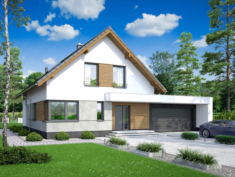 W bryle domu znajduje się garaż. Nazwa projektu: Pomelo. Projekt wykonano w Pracowni Archand