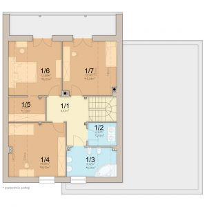Rzut poddasza. 1. Korytarz 8.83 m2, 2. Pralnia 2.2 m2, 3. Łazienka 6.42 m2, 4. Pokój 14.06 m2, 5. Garderoba 3.38 m2, 6. Pokój 12.8 m2, 7. Pokój 13.14 m2