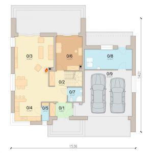 Rzut parteru. 1. Wiatrołap 4.58 m2, 2. Hol 10.33 m2, 3. Salon 34.86 m2, 4. Kuchnia 10.25 m2, 5. Spiżarnia 1.97 m2, 6. Pokój 13.21 m2, 7. Łazienka 3.13 m2, 8. Kotłownia 14.5 m2, 9. Garaż 35.5 m2