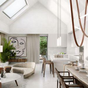 Biała zabudowa kuchenna i wyspa to dobry pomysł do nowoczesnego domu w typie stodoły. Projekt: Konrad Jurek i Karolina Krzysiak, pracownia Konteksty Studio. Wizualizacje Joanna Nosal