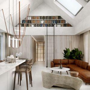 Całkowicie otwarta kuchnia z wyspą w nowoczesnym domu. Projekt: Konrad Jurek i Karolina Krzysiak, pracownia Konteksty Studio. Wizualizacje Joanna Nosal