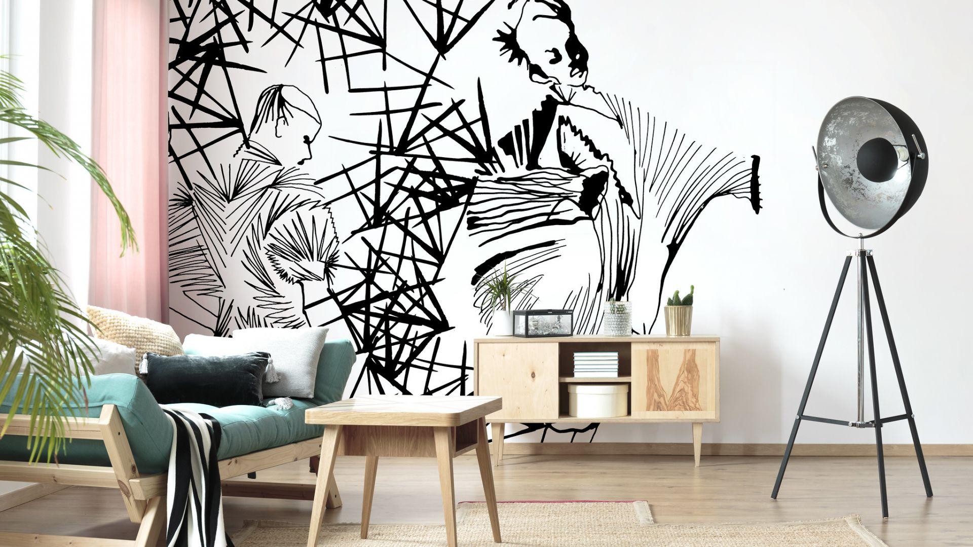 Nowoczesna tapeta inspirowana Japonią świetnie sprawdzi się na ścianie w jasnym salonie. Fot. Photowall