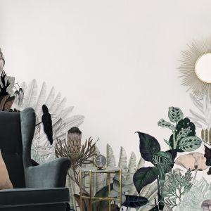Wzory roślinne to zdecydowanie hit naszych salonów. Ściana z taka tapetą to dobry pomysł do każdego wnętrza. Fot. Photowall