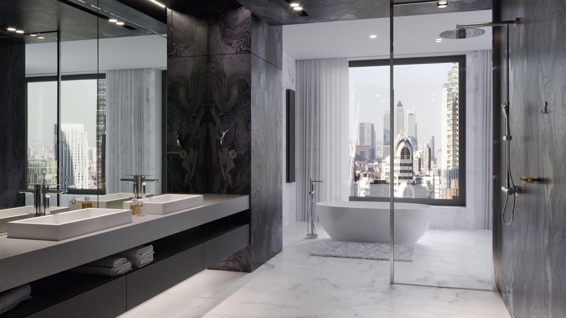 Do ekskluzywnej ceramiki i armatury dobrano równie eleganckie i wysokiej jakości akcesoria łazienkowe – mocowane do ściany, chromowane. Fot. Ferro