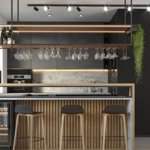 Świetna kuchnia z czarnymi matowymi frontami i drewnianymi lamelami. Projekt i wizualizacje: Agnieszka Rozmysłowicz, Viann Interior Design