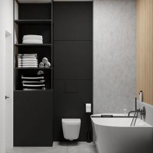 Matowa czarna zabudowa meblowa w łazience. Projekt i wizualizacje: Agnieszka Rozmysłowicz, Viann Interior Design