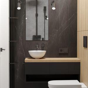 Druga ze znajdujących się we wnętrzu łazienek. Projekt i wizualizacje: Agnieszka Rozmysłowicz, Viann Interior Design