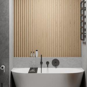 Jedna z dwóch łazienek w tym mieszkaniu. Projekt i wizualizacje: Agnieszka Rozmysłowicz, Viann Interior Design