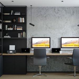 Domowe biuro z betonową ścianą. Projekt i wizualizacje: Agnieszka Rozmysłowicz, Viann Interior Design