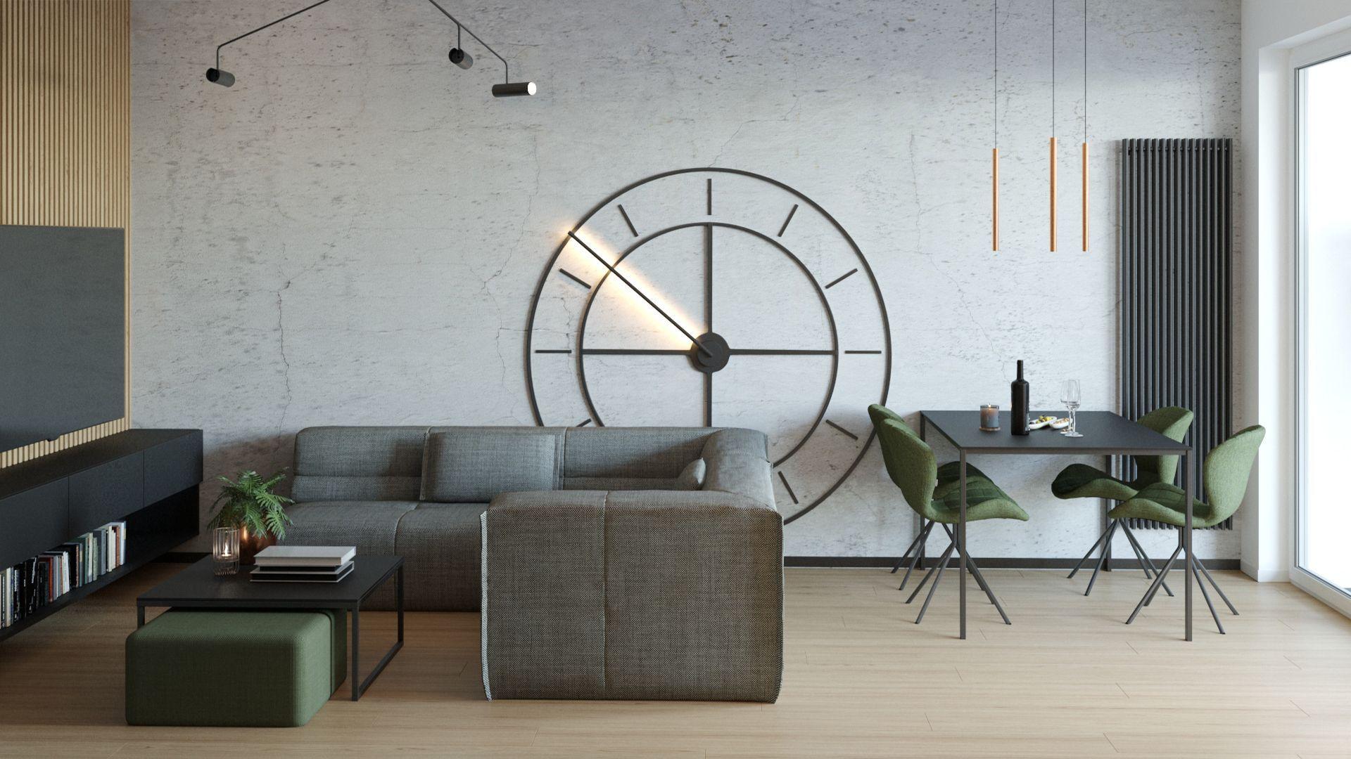 Otwarty salon z zegarem XXL. Projekt i wizualizacje: Agnieszka Rozmysłowicz, Viann Interior Design