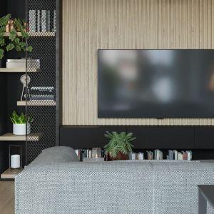 Na ścianie za telewizorem pojawiły się drewniane lamele. Projekt i wizualizacje: Agnieszka Rozmysłowicz, Viann Interior Design