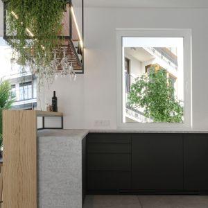 Nad wyspą kuchenną znalazła się ciekawa lampa, pełniąca jednocześnie funkcje kwietnika i półki na szkło. Projekt i wizualizacje: Agnieszka Rozmysłowicz, Viann Interior Design