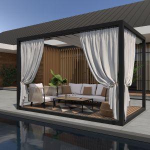 Ciekawym rozwiązaniem są pergole wolnostojące, które możemy postawić w dowolnym miejscu w ogrodzie – nad basenem, wśród drzew czy w innym, wybranym miejscu na działce. Fot. Cube Garden