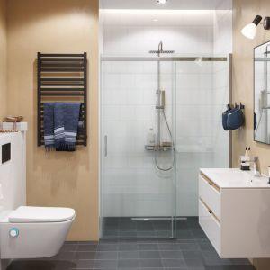 Łazienka ze strefą prysznica we wnęcę zabudowana drzwiami przesuwnymi serii Rols z zestawem prysznicowym Rein Krotos. Fot. Excellent