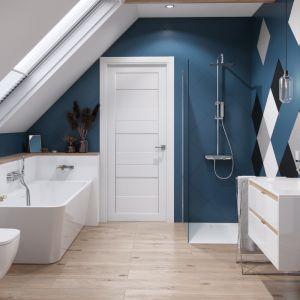 Zestaw prysznicowy Rein Krotos w łazience ze ścianką Vidoq typu Walk-in. Fot. Excellent