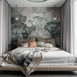 Sypialnia wyposażona w łóżko Miss Carat, garderobę, kącik z biokominkiem i salon kąpielowy. Projekt Magdalena Bielicka, Maria Zrzelska-Pawlak. Fot. Fotomohito