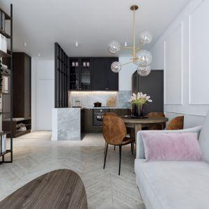 Mieszkanie o powierzchni 46 metrów kwadratowych - kuchnia w ciemnej zabudowie połączona ze stylowym salonem.  Projekt: Marta Ogrodowczyk, Marta Piórkowska. Wizualizacja Elżbieta Paćkowska