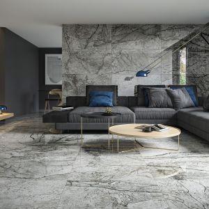 Premierową odsłonę nowej serii Grand Concept uzupełnia Essential Grey o klasycznym wzorze marmuru, w nowoczesnym wydaniu. Fot. Essential Grey Opoczno. Orientacyjne ceny: 189,99 zł/mkw. (60x60 cm), 199,99 zł/mkw. (80x80 cm), 219,99 zł/mkw. (60x120)