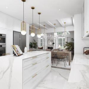 Strefa kuchenne to połączenie marmuru i kolor białego. Projekt: Marta Ogrodowczyk, Marta Piórkowska. Wizualizacja: Elżbieta Paćkowska